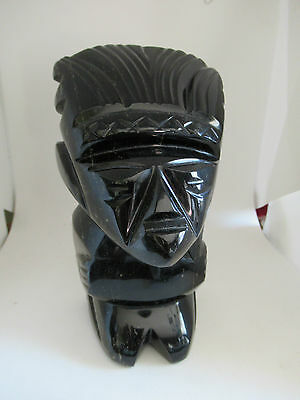 Gorgeous vintage Mexican/Mayan/Aztec Gold Sheen Obsidian carved statue, 1.3kg!