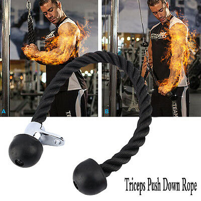 Gym Attachments Cable Tricep Rope Bar Twin Revolving Handle Pull Down Seated UK