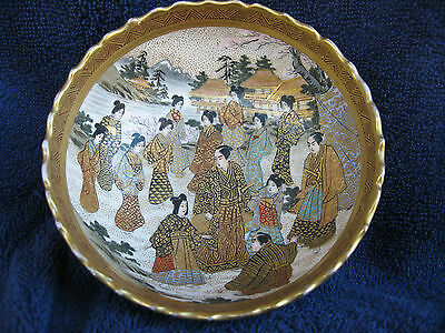 "Beautiful Japanese Satsuma Art Pottery Bowl-Hand Signed Signature-5""X2""Meiji per"