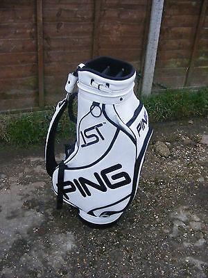 Ping Ist Cushin White Leather Tour Cart Trolley Golf Stand Bag 6 Way Divider