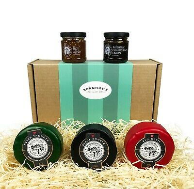 Snowdonia Cheese Company Gift Hamper Containing 3 x 200g Truckles & Chutney