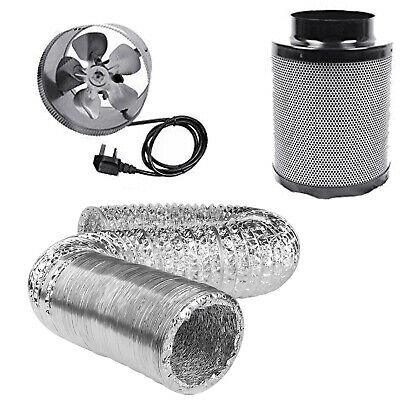 """Hydroponics 8"""" 200mm Duct Fan Booster Filter Complete Kit Growing Tent Bud Room"""