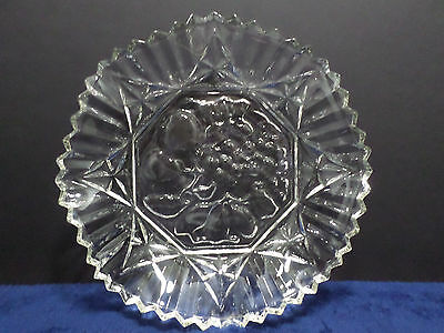 Vintage Clear Glass Fruit Bowl with a Ruffled Edge