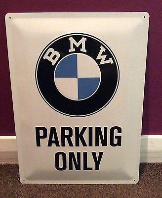 BMW Parking Only Sign. Advertising metal sign. Embossed sign