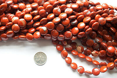 """1 x 16"""" string of 10mm disc-shaped red jasper beads - approx 39 beads a strand"""