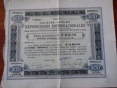Argentin-Buenos Aires / 1910 / Expositions Internationales / 2 Titres Identiques