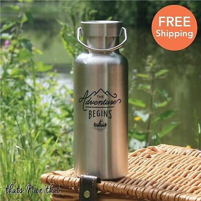 Gentlemen's Hardware Stainless Steel Water Bottle 500ml Camping Drink Gift Home
