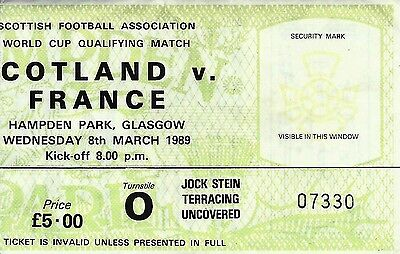 Ticket : Scotland v France - Group 5 World Cup Qualifier - 08 March 1989