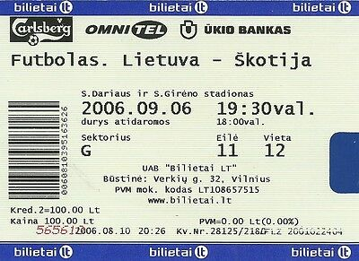 Ticket : Lithuania v Scotland - European Championship Qualifier - 06 / 09 / 2006