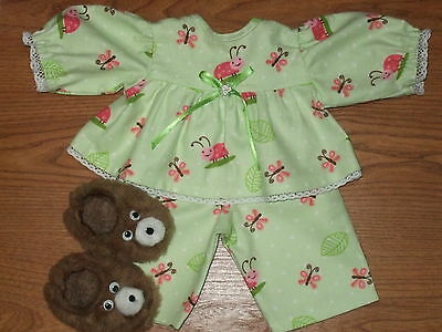 """For Cabbage Patch  Doll Clothes Girls 16"""" Ladybug & Butterflies Pajamas Slippers"""
