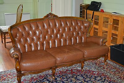 French Louis XV Style Leather Couch, Sofa