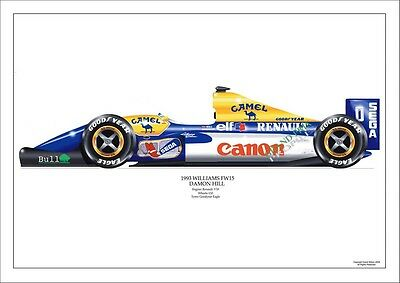 F1 Gp Damon Hill 1993 Williams Fw15 Airbrush Print
