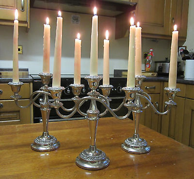 Old Antique Regency Style Silver Plate Set of 3 Candelabras English made c1960
