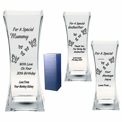 Personalised Vase Engraved 21st 30th 40th Birthday Gifts Mummy Godmother Gift