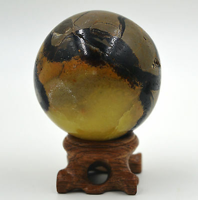 255g Polished DRAGON SEPTARIAN sphere Crystal w/Rosewood Stand Madagascar