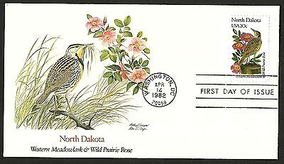 """US FDC 1982 First Day Cover """" Birds and Flowers of the 50 States"""" NORTH DAKOTA"""