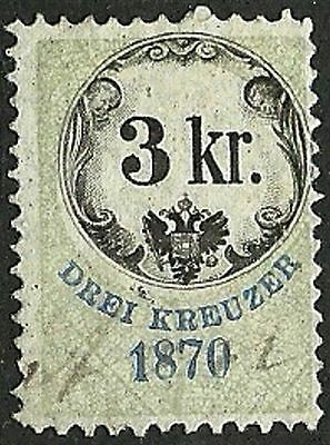 AUSTRIA 1870 VF Used The general revenue fourth issue stamp 3kr.