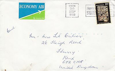 B 1032  Vic? 1993 Economy air cover UK; 85c aboriginal art solo stamp card rate