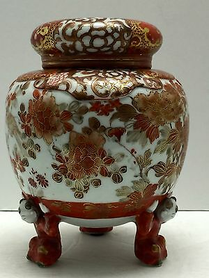 Wonderful Antique Japanese Kutani Meiji Period Tea Caddy With Figural Feet