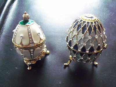 2 x ATLAS EDITIONS DECORATIVE EGG * NEST OF PEARLS * COMPLETE WITH STAND.& BOX