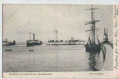 Donaghadee Harbour Steamship Sailing Ship Valentines Series postally Used