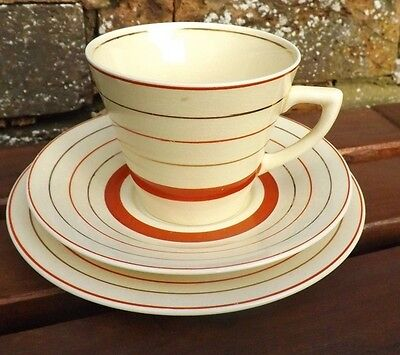 Clarice Cliff Vintage Art Deco Red Banded Cup, Saucer and Plate Trio. Circa 1934