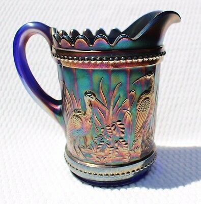 "RARE Vintage DUGAN BLUE CARNIVAL IRIDESCENT GLASS PITCHER "" Stork & Rushes"""
