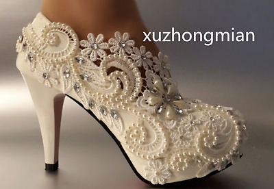 """3"""" 4 """" heel white ivory lace crystal pearls Wedding shoes pumps bride size 5-9.5"""