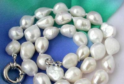 Natural 12-14mm white baroque freshwater cultured pearl necklace 46CM  uk15
