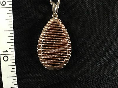 Sterling silver and Rose Gold pendant and 18 inch chain -new/hallmarked