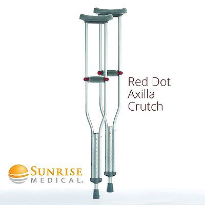 CLEARANCE - Coopers Lightweight Underarm Red Dot Axilla Crutches (Pair, Small)