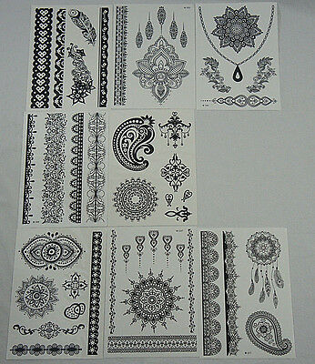 Lot-8 Sheets Black High Quality Henna Lace Stencil Boho Decals Temporary Tattoos