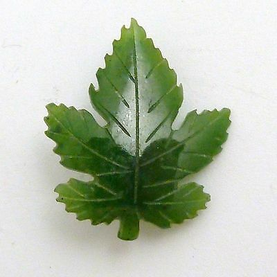 Vintage Green Glass Brooch Of A Maple Leaf