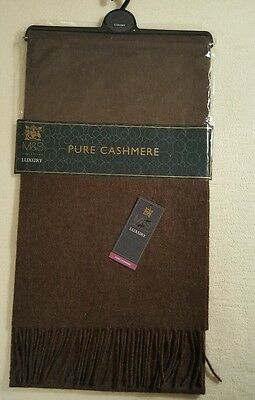 New Marks And Spencer Mens 100% Cashmere Scarf Taupe Present