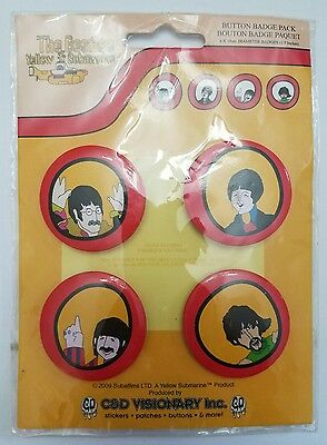 The Beatles Yellow Submarine Pinback Buttons Vintage-Style LOT of 4
