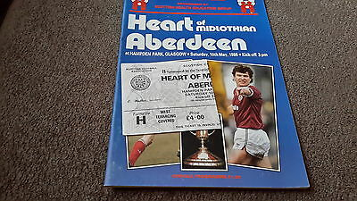 Football programme hearts v aberdeen scottish cup final + used ticket 1986