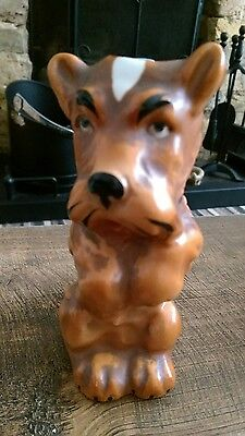 *****sad Vintage Tan Terrier Style Dog/candle Holder? Great Condition*****