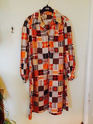 STUNNING GENUINE VINTAGE 60s 70s SHIRT DRESS PATCHWORK SIZE 16 18 BUST 40 Ins
