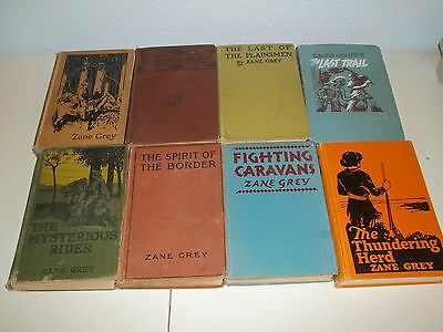 Lot Of 8 Zane Grey Westerns - Hardcover -