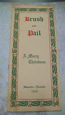 1918 Christmas Brush Pail House Paint Painter Advertising Brochure Alabastine Co