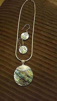 paula shell sterling silver necklace and earring set