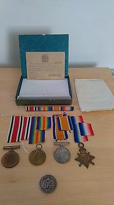 Ww1 Royal Navy Medal Group X 4 Including Silver War Badge - J.e.tracey (30290)