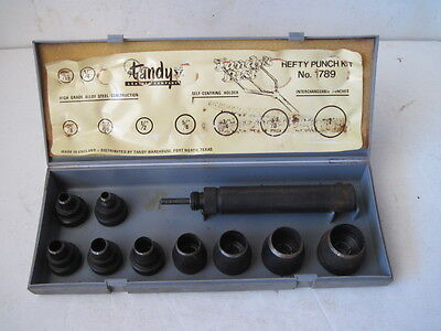 "Vintage Tandy No.1789 5/16""-1"" Hefty Leather Punch Kit Hand Tool With Case"