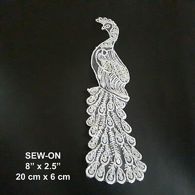 Peacock White Sequin Embroidered Emblem Dance Costume Patch Eve Dress Applique