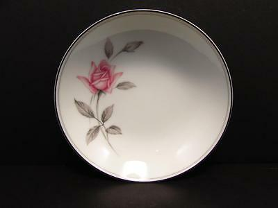 """Rosemarie 6044 by Noritake 7-3/8"""" Coupe Soup Bowl Pink Roses Gray Leaves b126"""