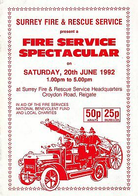 Surrey Fire Spectacular - Fire Engine Rally Programme 1992