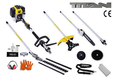 5 in 1 Multi Function Garden Tool 52cc Petrol Strimmer Brush Cutter Chainsaw New