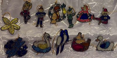Vintage Stained Glass Suncatchers 12 Days of Christmas Ornaments Lead Frames