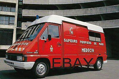 A French Renault Master Ambulance Fire Service Postcard