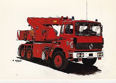 A French Renault 'Vehicules Industriels' Fire Service Postcard